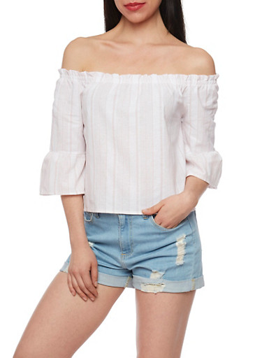 Striped Off The Shoulder Bell Sleeve Top,BLUSH,large