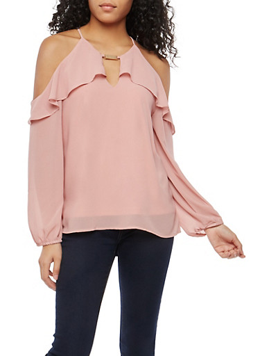 Cold Shoulder Ruffle Top with Metallic Detail,MAUVE,large