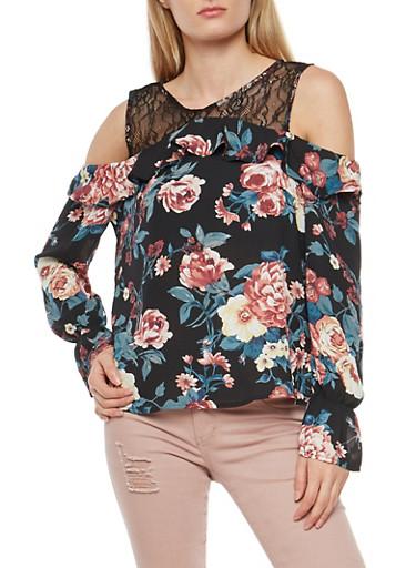 Floral Lace Cold Shoulder Top,BLACK,large