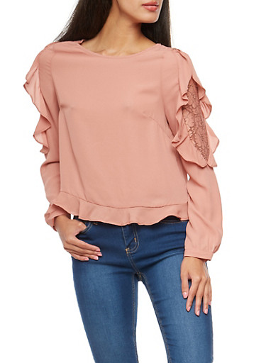 Blouse with Lace and Ruffle Details,PEACH,large
