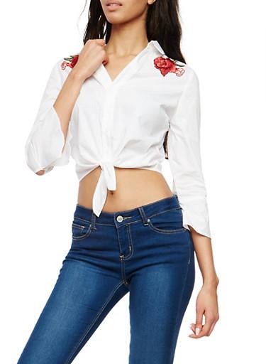 Tie Front Floral Applique Shirt,WHITE,large