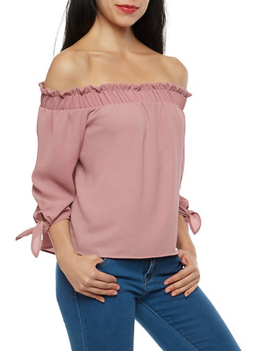 Tie Sleeve Crepe Knit Off the Shoulder Top,MAUVE,large