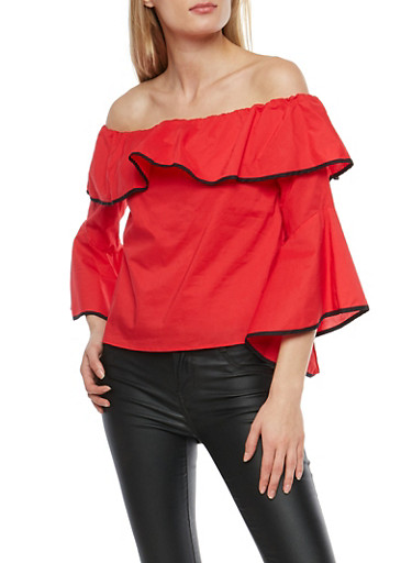 Contrast Trim Off the Shoulder Top,RED BLACK,large