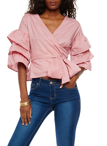 Tiered Sleeve Tie Front Top,MAUVE,large