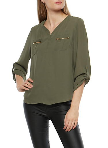 Crepe Knit Blouse with Faux Zip Pockets,OLIVE,large