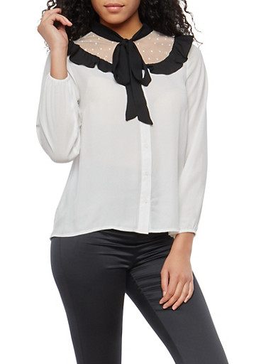 Tie Neck Button Front Top with Mesh Detail,WHT-BLK,large