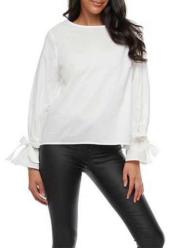 Solid Tie Sleeve Top,WHITE,large