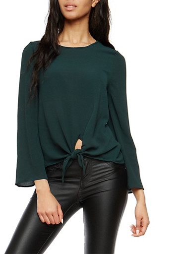 Crepe Knit Tie Front Top,HUNTER,large