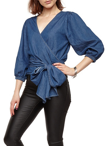 Chambray Wrap Front Top,DARK BLUE,large