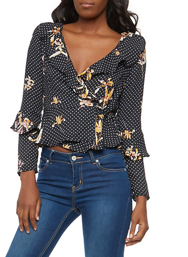 Floral Polka Dot Print Wrap Top,NAVY RED,large