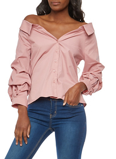 Off the Shoulder Button Front Top,MAUVE,large