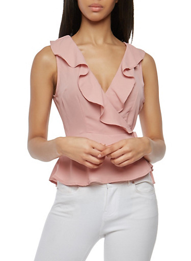 Ruffled Wrap Top,MAUVE,large