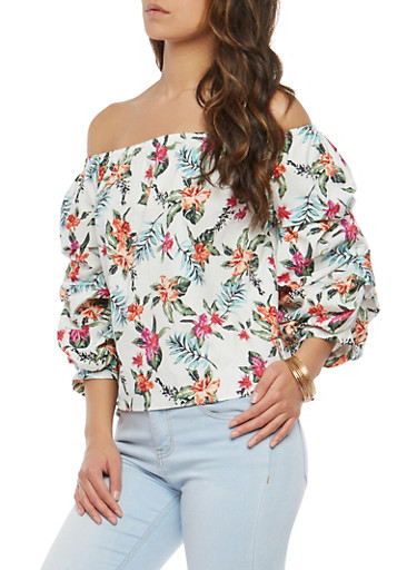 Printed Off the Shoulder Top,PINK,large