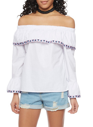 Off The Shoulder Bell Sleeve Top with Aztec Trim,WHITE,large