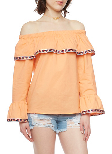 Off The Shoulder Bell Sleeve Top with Aztec Trim,CORAL,large