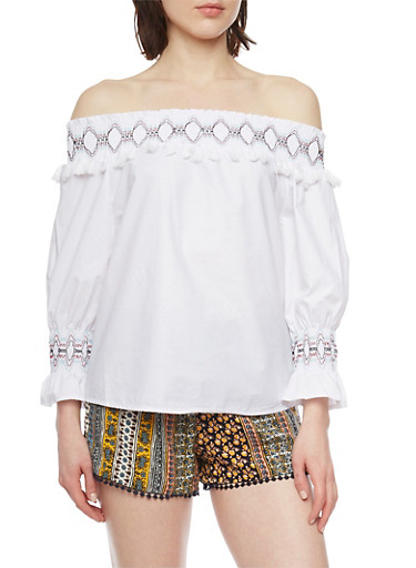 Off The Shoulder Embroided 3/4 Bell Sleeve Top,WHITE,large