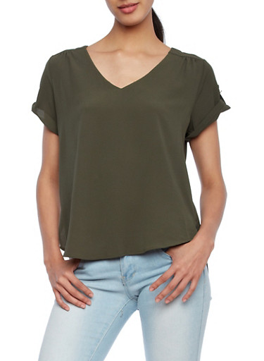 Lightweight Crepe Top With Button Sleeves and High Low Hem,OLIVE,large
