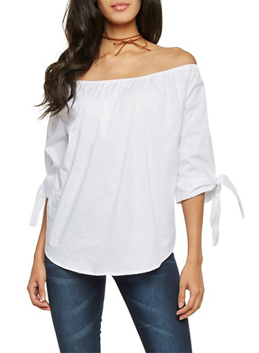 Poplin Off the Shoulder Top with Tied Sleeves,WHITE,large