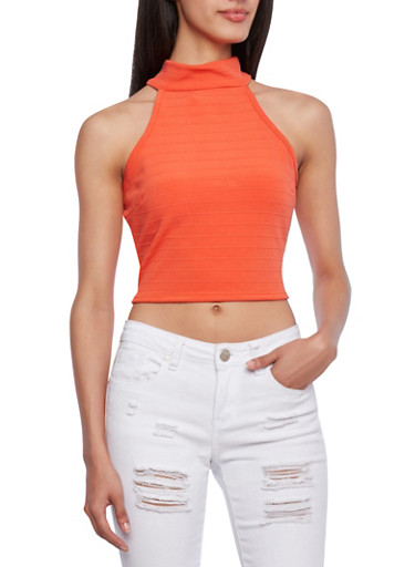 Mock Neck Crop Top With Back Buttoned Keyhole Cutout,CORAL,large