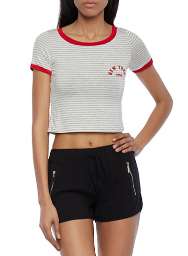Striped Crop Top with New York 1968 Print,RED GREY,large