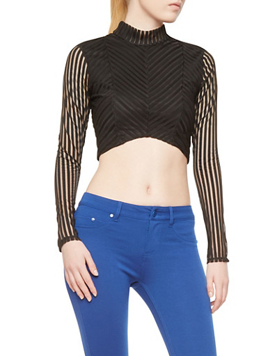 Shadow Stripe Crop Top with Back Keyhole Cutout,BLACK,large
