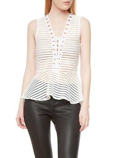 Sleeveless Shadow Stripe Peplum Top With Lace-Up V-Neck,WHITE,large
