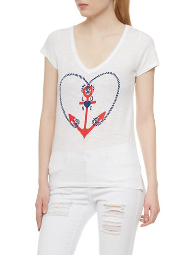 Heathered T Shirt with Anchor Love Graphic,WHITE,large