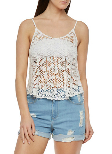 Crochet Tank Top with Scoop Neck,WHITE,large
