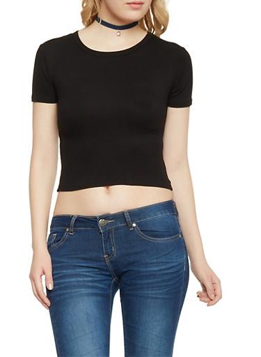 Short Sleeve Rib Knit Crop Top,BLACK,large