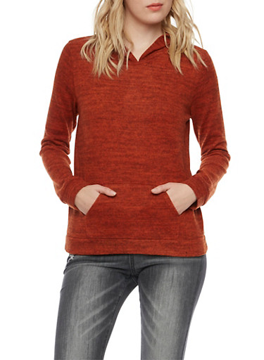 Plush Knit Hoodie,RUST,large
