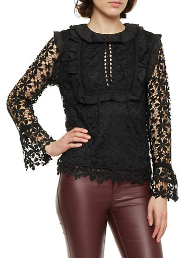 Crochet Top with Ruffle Trim and Bell Sleeves,BLACK,large