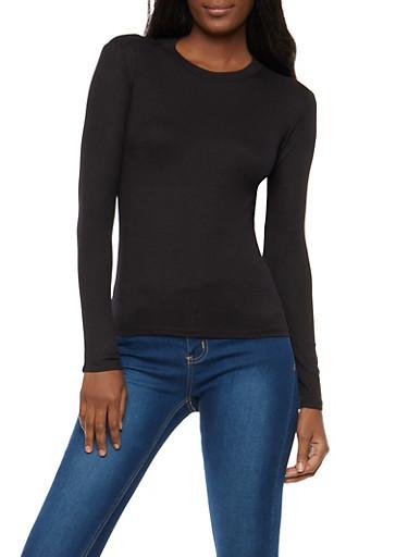 Basic Rib Knit High Neck Top,BLACK,large