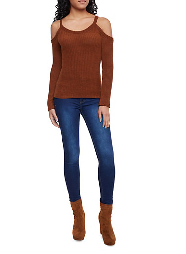 Ribbed Cold Shoulder Top with Long Sleeves,BROWN,large