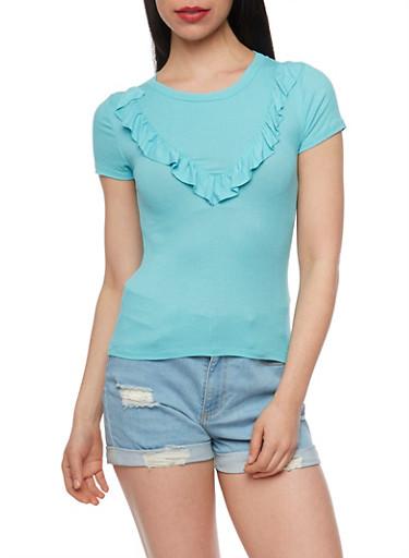 Short Sleeve Ruffle T Shirt,AQUA,large