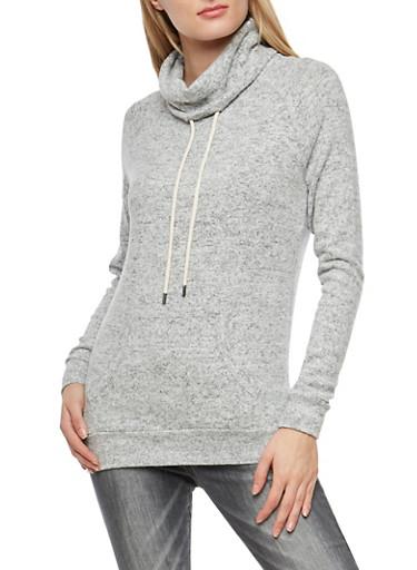 Fleece Cowl Neck Sweatshirt,HEATHER,large