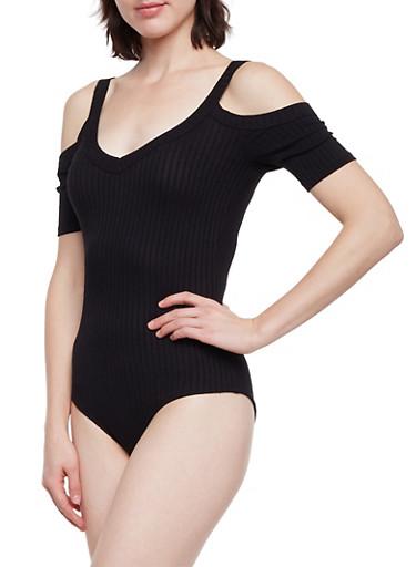 Cold Shoulder Bodysuit in Ribbed Knit,BLACK,large