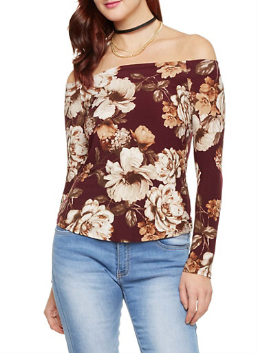 Long Sleeve Top in Floral Print,BURGUNDY,large