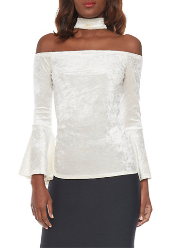 Velvet Off The Shoulder Choker Top with Trumpet Sleeves,IVORY,large