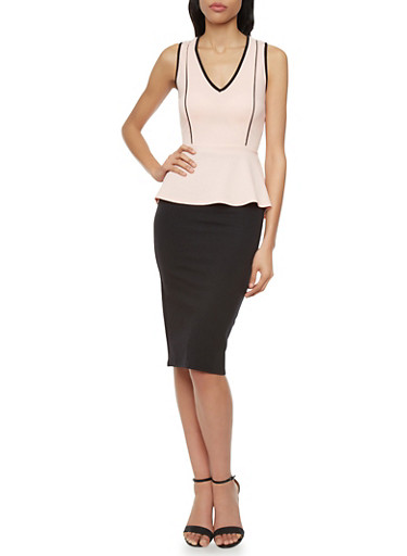 Sleeveless Textured Knit Peplum Top with Lace Up Back,BLUSH,large
