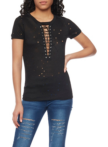 Laser Cut Lace Up T Shirt,BLACK,large