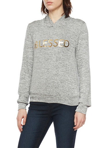 Marled Knit Hoodie with Blessed Gold Foil,HEATHER,large