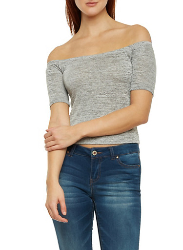 Cropped Marled Knit Off The Shoulder Top,HEATHER,large
