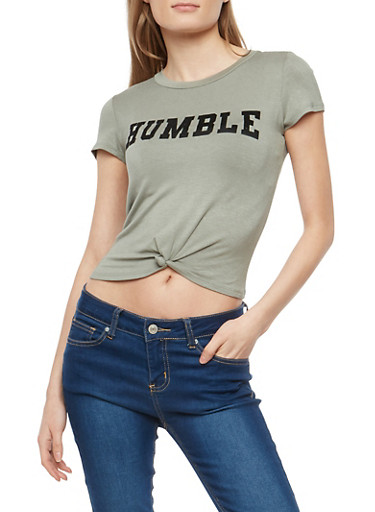 Humble Graphic Knot Front T Shirt,GREEN,large