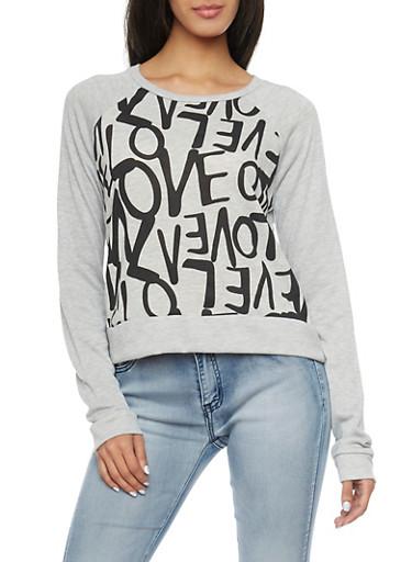 Sweatshirt with Love Print,HEATHER,large