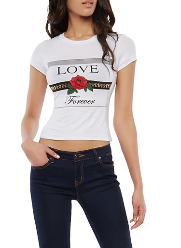 Love Forever Graphic T Shirt,WHITE,large
