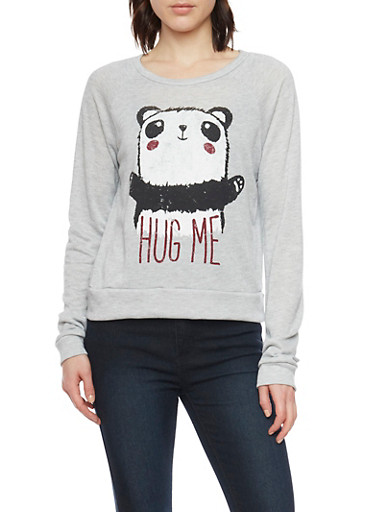 Long Sleeve Top With Panda Graphic,HEATHER,large