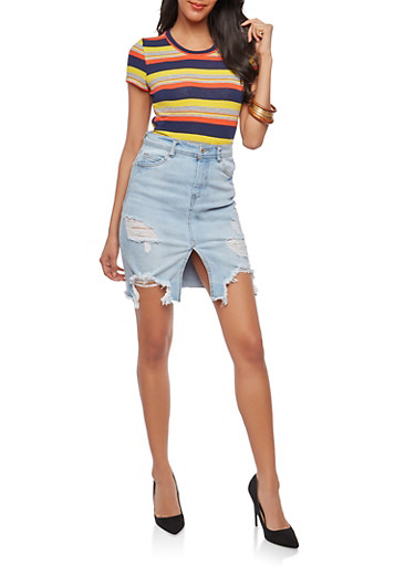 Striped Knot Front T Shirt,YELLOW,large