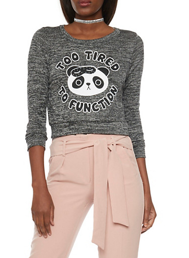 Marled Knit Top with Too Tired To Function Panda Graphic,BLACK,large