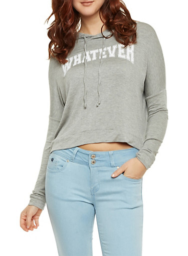 Hoodie with Whatever Graphic and High Low Hem,HEATHER,large