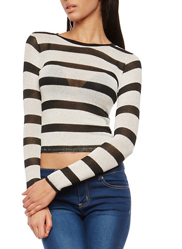Striped Glitter Knit Sweater,BLACK/WHITE,large